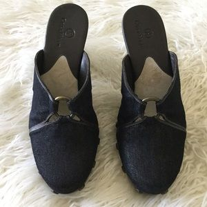 Cole Haan Black Denim & Brown Mules